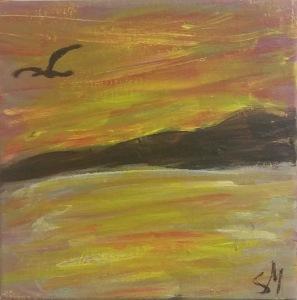 Water sky and bird